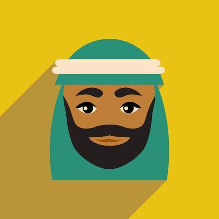 eastern spirituality: flat icon with long shadow Arab men Illustration