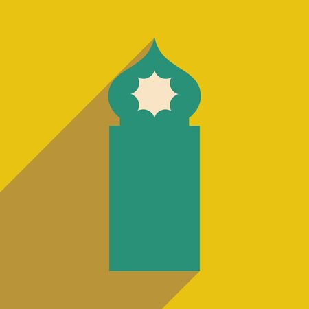 cupola: flat icon with long shadow Arab tower