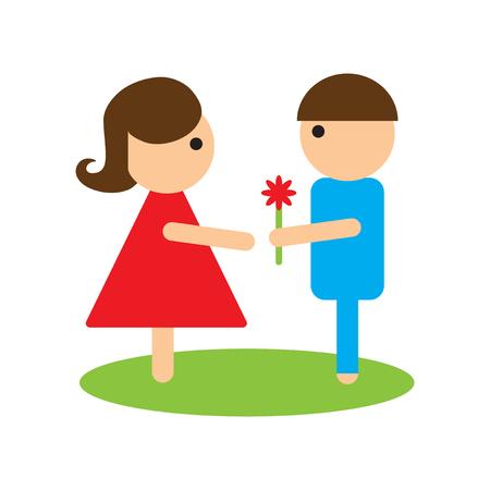 intimacy: Flat web icon on white background man woman flowers Illustration