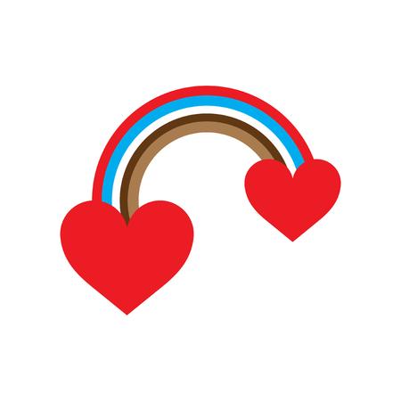bisexuality: Flat web icon on white background rainbow heart