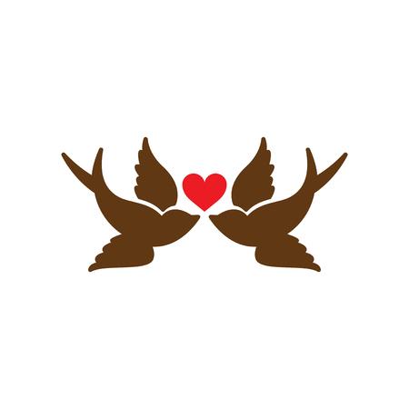 inseparable: Flat web icon on white background birds heart