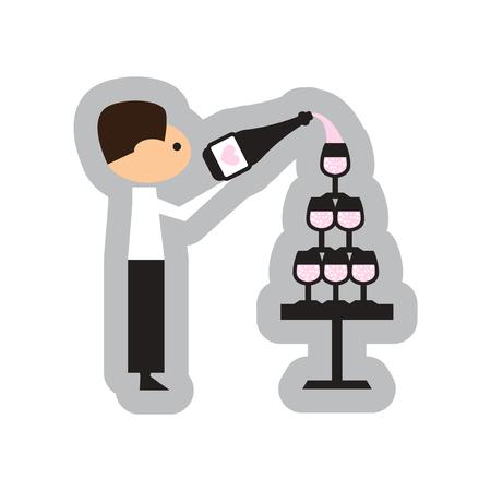 champagne glasses: Flat web icon on white background Pyramid wine waiter