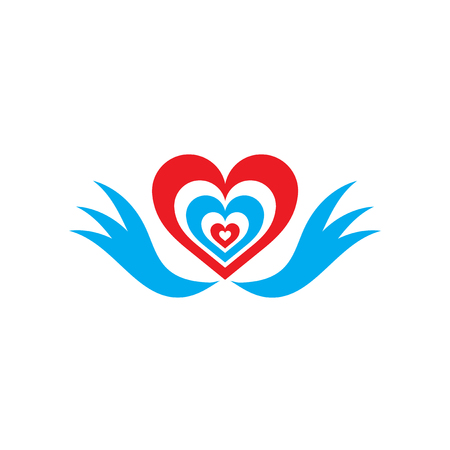 heart with wings: Flat web icon on white background heart wings Illustration