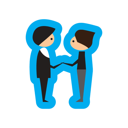 male friends: Flat web icon on white background male friends Illustration