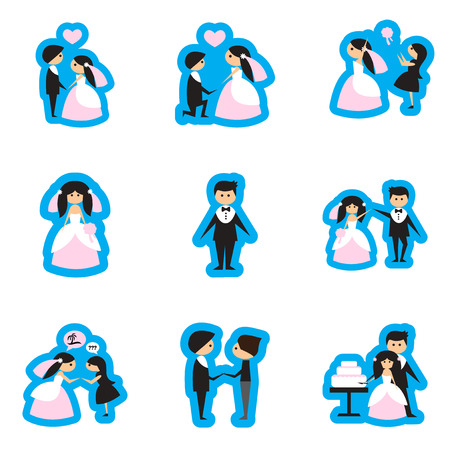 cabrio: Set of flat web icons on white background bride and groom Illustration