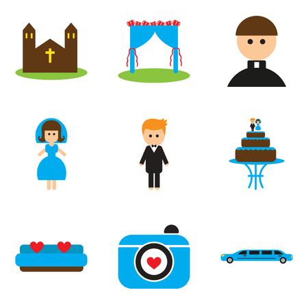 Set of flat web icons on white background wedding