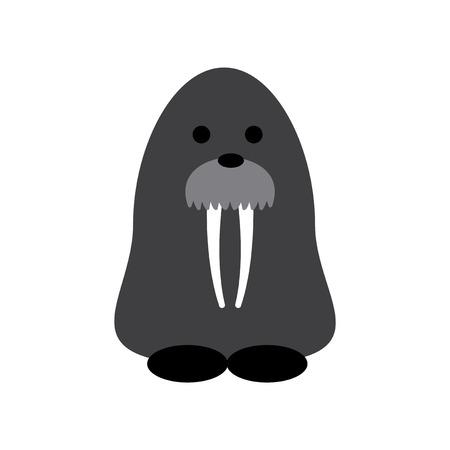 walrus: Flat web icon on white background walrus Illustration