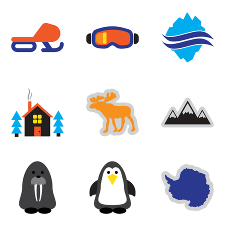 albatross: Set of flat web icons on white background Arctic
