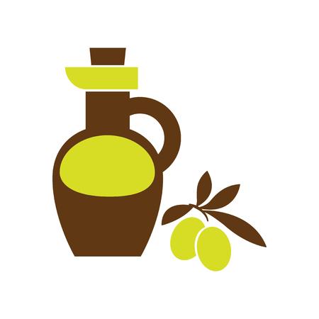 cruet: Flat web icon on white background olive oil Illustration