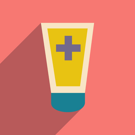 ointment: Flat with shadow icon and mobile application medical ointment