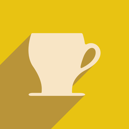 long drink: Flat with shadow icon and mobile applacation coffee