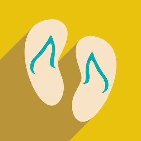 beach slippers: Flat with shadow icon and mobile applacation beach slippers Illustration