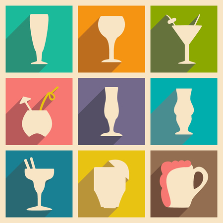 stemware: Flat with shadow concept and mobile application stemware
