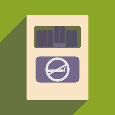 toxic product: Flat with shadow icon and mobile application pack of cigarettes Illustration