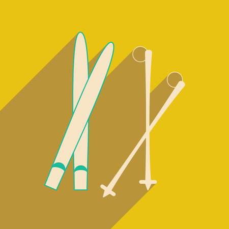 slope: Flat with shadow icon and mobile applacation skis
