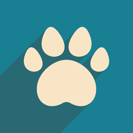 animals shadow: Flat with shadow icon and mobile application traces of animals