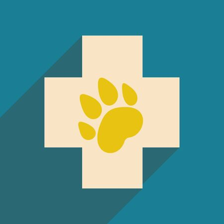 caduceus veterinary symbol: Flat with shadow icon and mobile application Veterinary Illustration