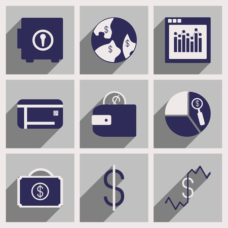 broken down: Set of flat icons with long shadow economy Illustration