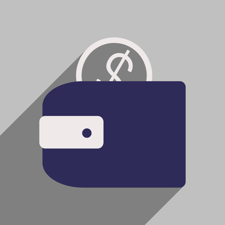 e wallet: Flat style icon with long shadow purse money