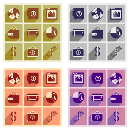 broken trust: Set of flat icons with long shadow economy Illustration