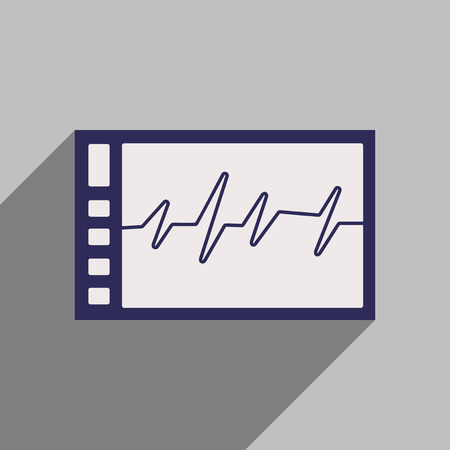 cardiogram: Flat style icon with long shadow cardiogram