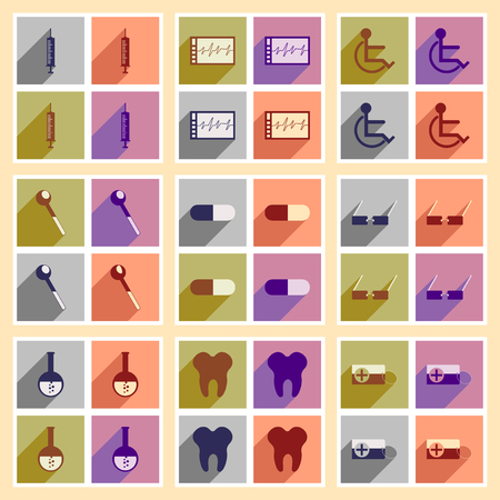a tablet blister: Set of flat icons with long shadow medicine Illustration