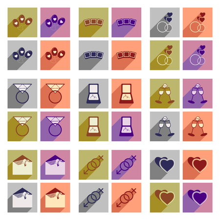 fiancee: Set of flat icons with long shadow wedding