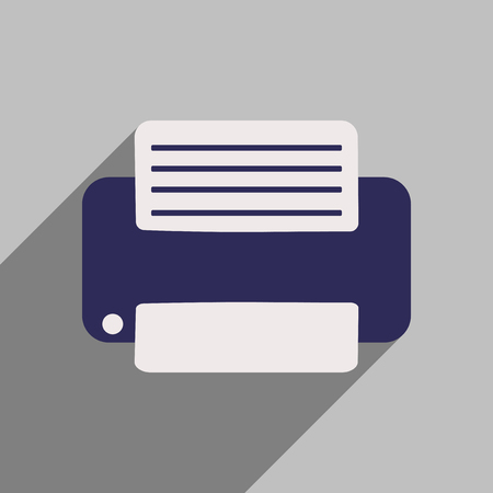 multifunction printer: Flat style icon with long shadow Printer
