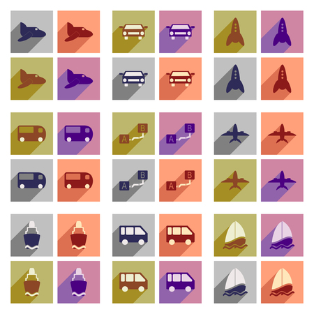 private jet: Set of flat icons with long shadow transport