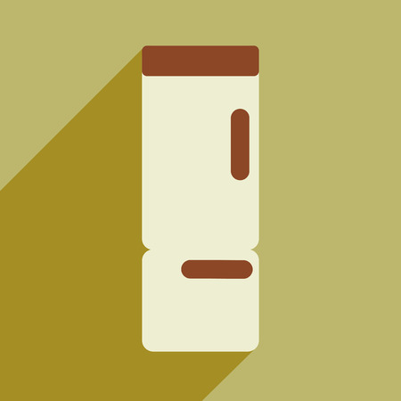 refrigerator kitchen: Flat icon with long shadow kitchen refrigerator Illustration