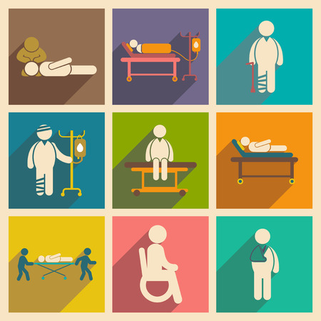 hospital patient: Modern flat icons collection with long shadow patients