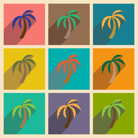 Modern flat icons collection with long shadow Indian palm