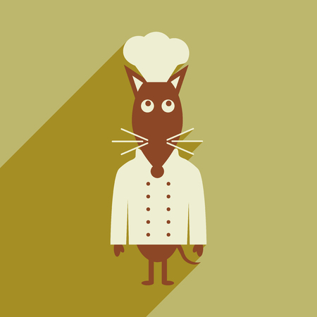gastronomic: flat icon with long shadow mouse chef