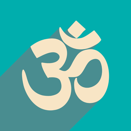 om symbol: Modern flat icon with long shadow Indian om sign