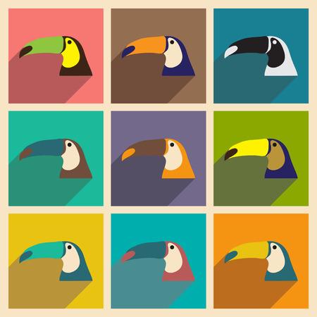 brazilian: Set of flat icons with long shadow Brazilian toucan