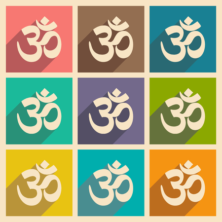 om sign: Modern flat icons collection with long shadow Indian om sign