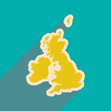 britannia: flat icon with long shadow map of Britain Illustration