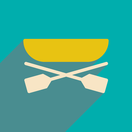 oars: flat icon with long shadow boat oars