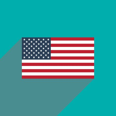 us flag: flat icon with long shadow American flag