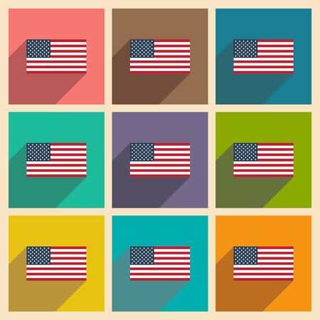federal election: Set of flat icons with long shadow American flag Illustration