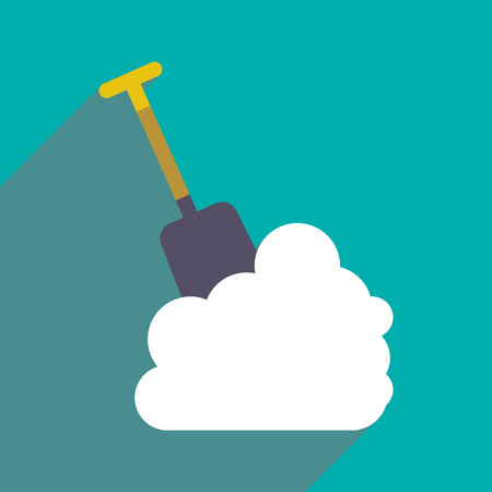 bank activities: flat icon with long shadow snowdrift shovel