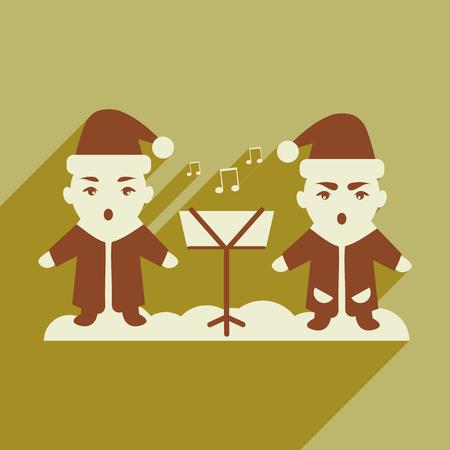 carols: flat icon with long shadow children sing carols