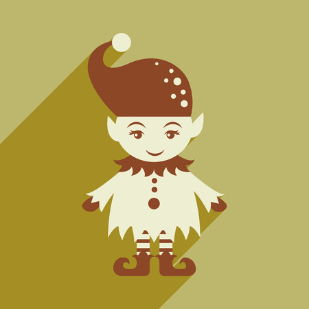 dwarf costume: flat icon with long shadow christmas gnome Illustration