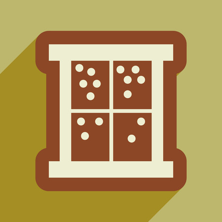 homely: flat icon with long shadow snow outside the window Illustration