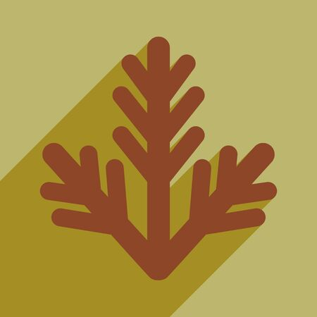 furtree: flat icon with long shadow fur-tree branch