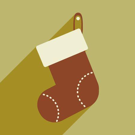 christmas sock: flat icon with long shadow Christmas sock