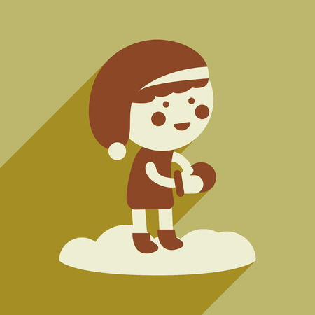snowballs: flat icon with long shadow boy playing snowballs