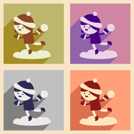 snowballs: Set of flat icons with long shadow girl playing snowballs