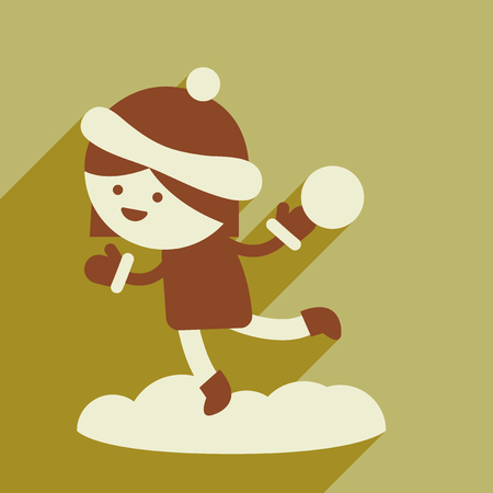 palle di neve: flat icon with long shadow girl playing snowballs