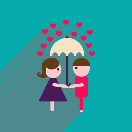 woman with umbrella: Flat web icon with long shadow man woman umbrella